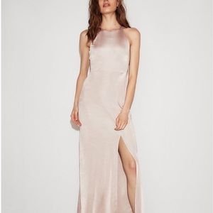 Express Metallic Pink Halter Evening Dress